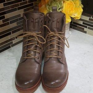 Frye Veronica Grey Combat Boots